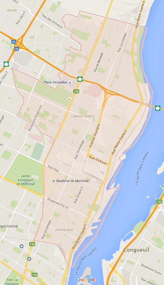 Carte de Mercier–Hochelaga-Maisonneuve, Montréal
