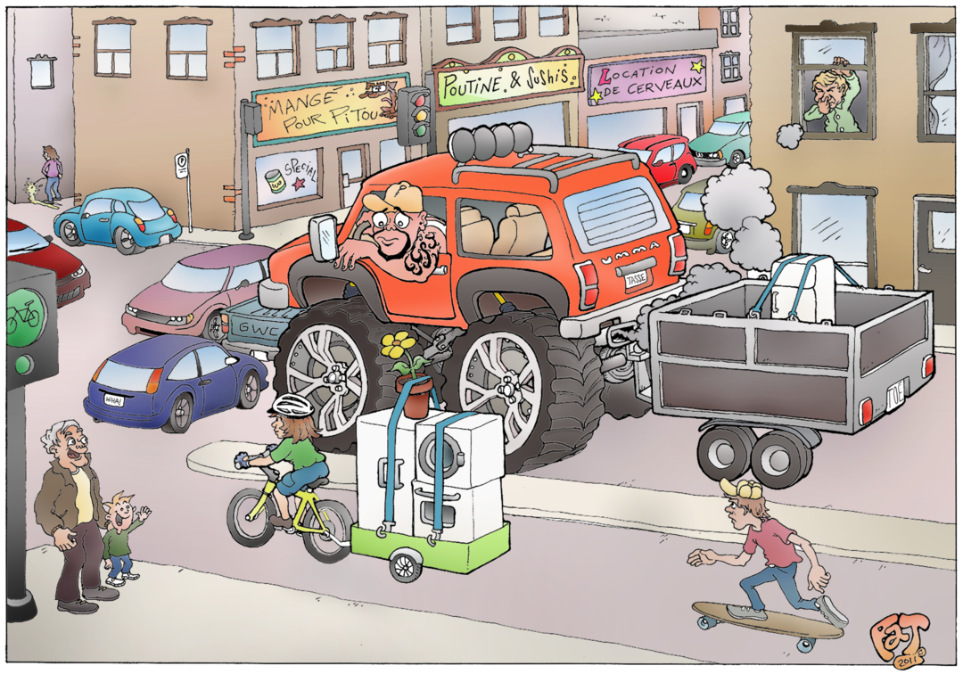 Transport d'électros : vélo vs camion (© Patrice Myette)